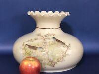 "Vintage 10"" Aladdin Wild Bird B Tam-O-Shanter Hurricane Oil Glass Lamp Shade"