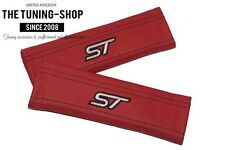 "2x Seat Belt Covers Pads Red Leather ""ST"" Embroidery for Ford"