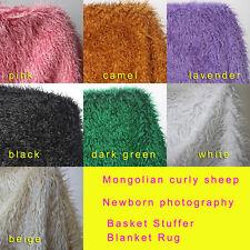 Curly sheep fur newborn photography props Basket Stuffer Blanket Rug 100x75cm