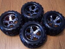 Traxxas VXL 2wd Stampede Front Rear Talon Tires 2.8 Black Chrome 12mm Wheels XL5