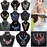 Fashion Women Jewelry Choker Chunky Statement Bib Pendant Crystal Necklace Chain
