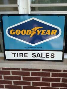 VINTAGE Original GOODYEAR INDEPENDENT DEALER Metal Sign Double Sided Tire Sign