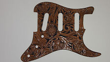 """Leather pickguard Fender Stratocaster hand tooled """"Floral Riffs"""" Brown & black"""