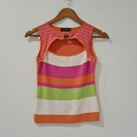 A'Oreal Womens Summer Colorful Knit Top  Open Front Size 6
