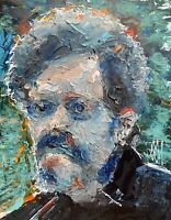 Abstract Portrait Terence McKenna Palette Knife Wall Art Original Painting 11x14