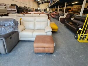 Ex-display World of Leather tan leather storage footstool