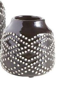 Pier 1 Imports Mini Vase Black & Cream Dots Flower Arrangement New
