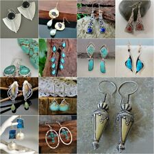 Woman Moonstone Turquoise 925 Silver Ear Hook Stud Dangle Drop Earrings Jewelry