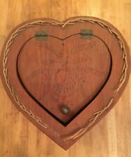 Vintage Heart Shaped Wicker Box Sewing Basket Hand Engraved Hinged Lid Wood Top