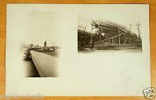 Sailors Memorial & Ship Construction Gloucester MA Multiview Photo Postcard 1928