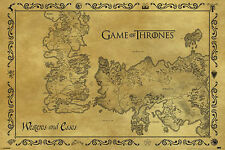 (LAMINATED) GAME OF THRONES ANTIQUE MAP (61x91cm) WESTEROS AND ESSOS POSTER NEW