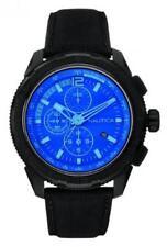 Reloj Hombre NAUTICA NT 647 NAI21504G Chrono Cuero Negro Azul Sub 100mt NUEVO