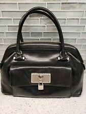 BCBG Black Leather Dr Bag Double Handle Purse