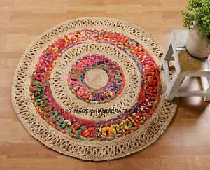 Indian Braided Floor Rug Boho Cotton Jute Mix 3x3 Feet Rug Round Floor Mat Rugs