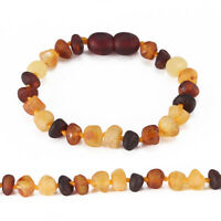 Baltic Amber Child (3yr+*) Bracelet/Anklet - Raw not Polished - Multicolor Color