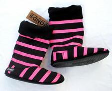 BONDS womens slipper boots size S 5/6 black & pink stripe house shoes footwear