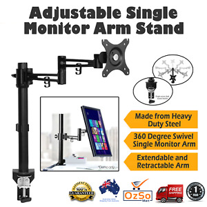 Fully Adjustable Single Monitor desk Arm Stand mount extra tall Heavy Duty New