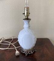 "Vintage Table Lamp White Milk Glass Raised Scroll Design Metal Base Plug 12"" H"