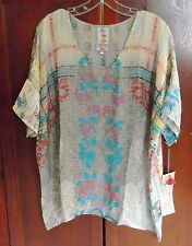 $212 JOHNNY WAS FLOWY BOXY COLORFUL TUNIC TOP PATCHWORK RAYON oversized  M L NWT