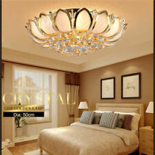 Modern Round Golden Metal Luxury Crystal Ceiling Lamp Bedroom Pendant Light YB18