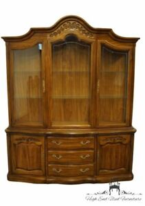 """HICKORY MANUFACTURING Walnut Country French 72"""" Buffet w. Display China Cabin..."""