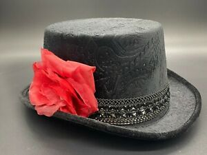 Women Costume Hat Steampunk Black W/ Rose Skeleton Halloween Day Of The Dead
