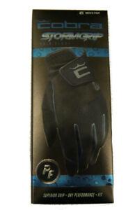 COBRA Crown C MENS StormGrip RAIN Golf Glove Gloves [1 Pair] Black Cobra Puma