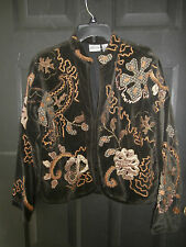 NWT NEW Chicos TOP JACKET COVER UP VELVET METALLIC SIZE 1 EMBROIDERED LINED COAT