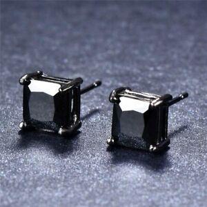 Men's Women's Black Onyx Square Diamond Solitaire Cut Stud Earrings 4-7mm Steel