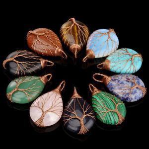 Natural curación cristal cuarzo árbol vida lágrima piedra Chakra Reiki colgante