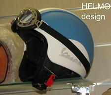Casco Vespa Vintage retrò personalizzato in pelle s m l xl azzurro bianco