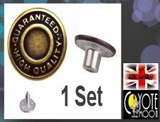 17mm Jean Denim Borchie Bronzo in Metallo Ottone Antico Rame pulsante UK Venditore