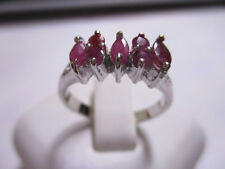 5 Stone Sterling Silver Ruby Ring solid 925 silver Real Oval cut Rubies size 8