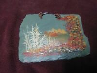 Folk Art Primitive Painting on Slate Autumn Landscape Corn Vintage Signed Neat