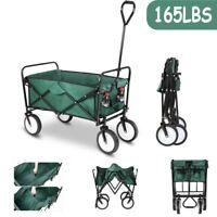 Collapsible Folding Wagon Cart Beach Camping Trolley Garden Utility Cart Green