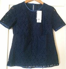 NEW French Connection Fast Libby Navy Lace Top Size 6