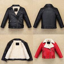 Cool Kids Boys Leather Jacket Warm Fllece Coat Biker High-Quality Fur Outerwear