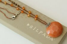 """Silpada """"Moroccan Sunset"""" Orange Red Silk Cord Pearl Agate Necklace N2453 $59"""