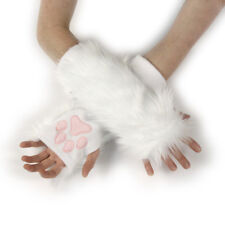 PAWSTAR Paw Arm Warmers - Furry Fingerless Gloves Kittenplay White [CLAWH]3101