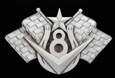 COOL HORSESHOE 8 BALL AND CHECKERED FLAGS NOVELTY BELT BUCKLE