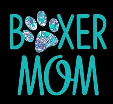 "Boxer Mom Decal in Turquoise Great for Window/Mirror/Car/Truck- 5"" x 6"""