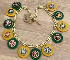 Vintage celluloid early plastic circus necklace