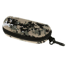 Camo Zipper Clam Shell Hard Case Box for Eyeglass Sunglass Shockproof w Hook