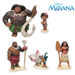 6 Pcs Disney Moana Maui Hei Hei Tamatoa Sina Chief Tui Figure Model Cake Topper