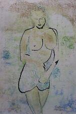 """ANDREW NEILAN AUSTRALIAN WC """"FEMALE NUDE"""" """"ORANGE LANDSCAPE"""" 1995"""