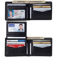 Alpine Swiss Mens Genuine Leather Passcase Bifold Wallet RFID Safe 2 ID Windows