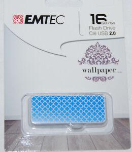 Emtec 16 GB Flash Drive USB 2.0 Wallpaper Blue NEW