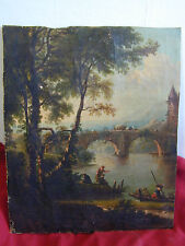 19th Century Italian Capriccio Oil Painting Fragment Remnant Landscape