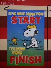 """Peanuts Gang """"Its Not How You Start, Its How You Finish"""" Garden Flag -NEW!!"""