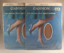 2 Pairs Vintage Cannon Cantrece Support Seamless Stockings French Beige Small